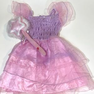 Girls Pink +Purple Princess Costume + Wand Size Sm